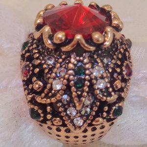 Luxury Boho Red Satellite Stone Antique Gold ring